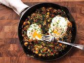 Kale crujiente, coles de Bruselas y patata frita   – Eat