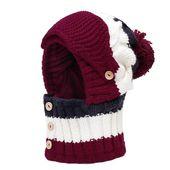 Women Winter Windproof Warm Plus Velvet Knit Hat Scarf Set with Face Mask Thicken Ski Earmuffs Cap – Gorros y bufandas