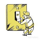 Man With Giant Light Switch Turned Off