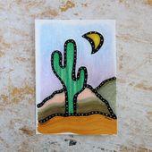Cactus painting, cactus decor, desert themed decor, unique colourful art, origin…