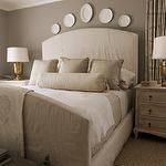 bedrooms – Pratt and Lambert – Ever Classic – gray paint ticking stripe curved b…   – Cozy Living Rooms and Bedrooms