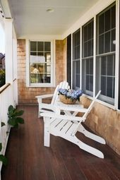 Narrow Porch With 2 Adirondack Chairs Lanai Decorating Custom Built Homes Home Builders