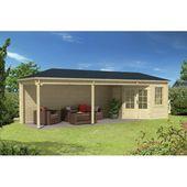 790 cm x 250 cm Gartenhaus Domenic Garten Living Fundament: Mit Fundament, Boden: Mit Fußboden – 18 mm, Dach: Sechseckig Rot