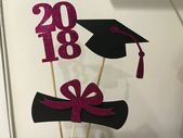 Graduation decoration, 2019 Centerpiece Sticks, Graduation centerpiece, Diploma Graduation table decor, black and pink glitter. Prom 2019