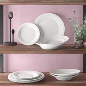 12 Stück Tägliches Abendessen in Weiß für 4 Personen Wayfair Basics   – Products