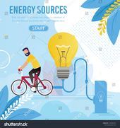 Energy Sources Motivation Cartoon Metaphor Banner. Man Rides Bicycle Generating Ecological Electricity Resource for Light. Electric Power Generation. …