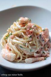 Spaghettoni aux crevettes et au saumon   – Rezepte