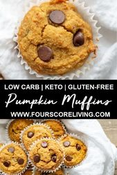 Tender, scrumptious, and nutritious, these Low Carb Pumpkin Muffins are ridiculo…