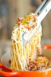 Spaghetti au fromage à la crème   – Pasta: Main Dish