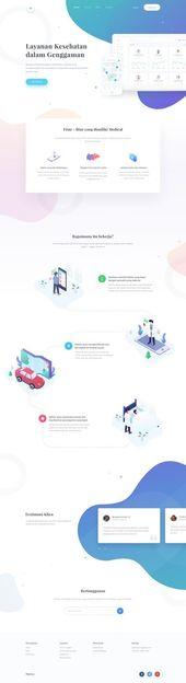 Diseño de sitios web de aplicaciones médicas: buen uso de colores y degradados para llamar la atención   – Design  |  App Mockups