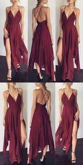 A-line deep V-neck, Burgundian chiffon sweep train split-side evening dress