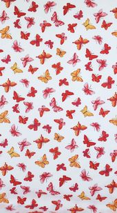 Cotton Fabric PINK BUTTERFLIES jules & coco fabric One Yard red orange pink butterflies on white Fun Fabric for Creative Genius Projects   – Phone wallpaper