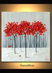 Moderne Kunst 12 x 12 strukturierte Malerei, rote Baum Malerei, abstrakte Landschaft, einzigartiges Wanddekor Geschenk