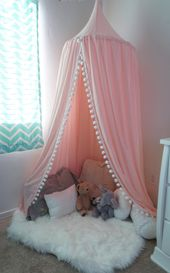 Photo of Pompom Play canopy in blush pink cotton / hanging tent/bed canopy/ hanging canopy