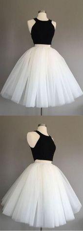 Einfache Tüll zwei Stücke kurzes Abendkleid, niedliche Heimkehr Kleid