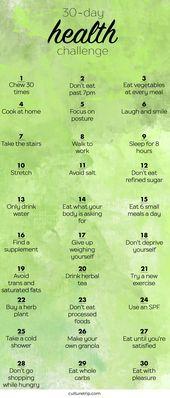 The 30-Day Health Challenge  Die 30-Tage-Gesundheitsherausforderung    This image has get 5 repins. …