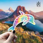 Dolphin Tie Dye Vinyl Sticker, Best Friend Gift, Animal Decals, Dolphin Stickers, Decal, Macbook Dec