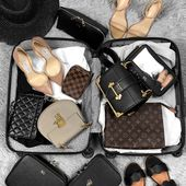Suitcase flatlay / Whats in my bag / Luxury bags #beauty #makeup #flatlay #wimb …
