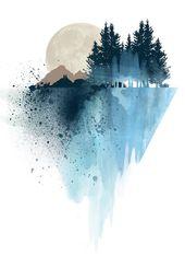 "Blauer Berg-Wand-Kunst, Kunstdrucke, Aquarell, Plakat, Druck Natur, Landschaft, drucken, Wand-Dekor "","" Wald-Kunst "","" Mountain print "","" Wandkunst"