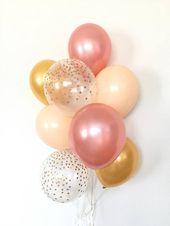Rose Gold Balloons | Blush and Gold Balloon Bouquet | Rose Gold and Blush Balloons | Rose Gold Bridal Shower Decor | Rose Gold Wedding