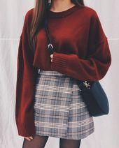 Mini-jupe en vichy noire et blanche en classe collégiale   – Outfit ideen