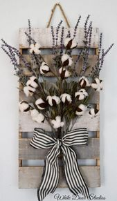 Farmhouse Cotton and Lavender Pallet Style Wall Decor – Best Selling Original Design by White Door Studios