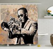Musik Grunge Afro Jazz Art Duschvorhang Set  – Belmont Apt