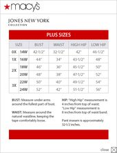 Jones New York Collection Plus Size Chart Via Macys Different Than Dillards Chart Moda Femenina Moda Femenina