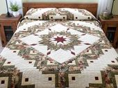 Lone Star Log Cabin Quilt — terrific well made Am…