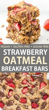 Easy fresh strawberry oatmeal breakfast bars are a flourless and low calorie bre…