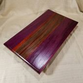 Large Purple Heart Cutting Board with Feet – Footed Ottoman Tray, Handcrafted w/ Purple Heart, African Padauk & Walnut, Made in Vermont