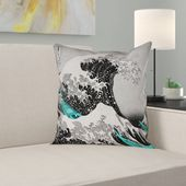 Latitude Run 'Raritan The Great Wave Pillow Cover Size: 20″ x 20″, Color: Red