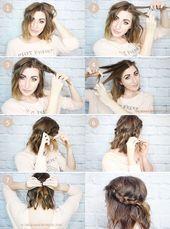Nette Einfache Frisuren Fur Mittellanges Haar Einfache Frisuren Mittellang Frisuren E Easy Hairstyles Cool Short Hairstyles Short Hair Styles Easy