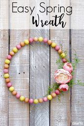 DIY Spring Wreath Made With Wooden Beads – Shopper Crafts