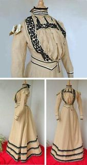 Day Dress Ca 1885 90 Three Pieces Boned Bodice Boned Belt And Skirt Silk And Cotton With Jet Beads Silk Ribbons On Shoulders Le Bon Coin By Mode Kleding