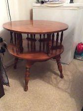 Ethan Allen Round Revolving Vintage Maple Two Tier Drum Table Ethan Allen Furniture Antique Furniture For Sale Drum Table