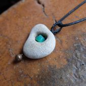 Hag stone – wishing stone – Pebble in Limestone & Chrysoprase necklace – handmade in Australia by NaturesArtMelbourne – natural jewellery – Jewelry with soul