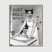 Lustige Küche Kunst Wohnheim Dekor Vintage Katze skurrilen Fotobombe Kunstdruck Positive Back to School Counselor Art Kitsch Kochen Baker Backen Kunst