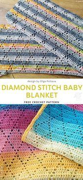 Baby Blanket Diamond Stitch Baby Blanket