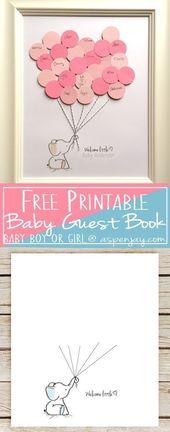 Elefant-Baby-Dusche-Gästebuch zum ausdrucken – Aspen Jay   – babyshower