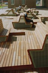 Benches at Harvard College Graduate Scholar Residences by Machado Silvetti