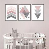 Pink and grey set of 3 printable nursery posters Downloadable Scandinavian geometric prints dusky pi