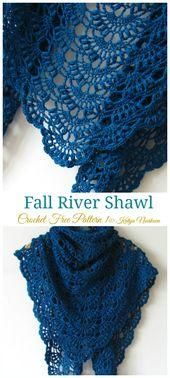 Fall River Shawl Crochet Free Pattern - Chal de encaje