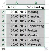 Excel: Create date series that only contain working days