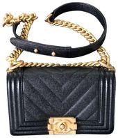 Chanel Boy Small Gold Hardware Black Caviar Leather Cross Body Bag