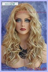 Details about LACE FRONT EAR TO EAR LACE HEAT FRIENDLY WIG F27.613 BLOND HIGHLIGHT USA 213