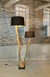 Double flooring lamp of outdated and weathered Oak department.