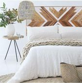 Geometric wood headboard made of reclaimed pinewood. Each piece is treated with …