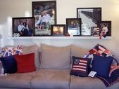 shelves above couch | LOVE the picture shelf over …