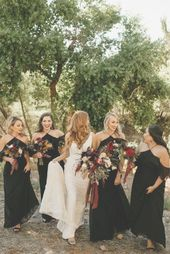 Black off-the-shoulder bridesmaid dresses by Morilee | Image by Ashtyn Nicole Ph…